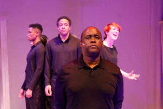 Blake Hawthorne, Vincent Jordan, Dwight Neal and Hannah Mary Simpson in Legends the Musical at Black Ensemble Theater