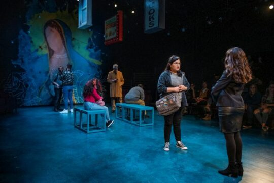Karen Rodriguez (Julia) and the cast of I Am Not Your Perfect Mexican Daughter at Steppenwolf. (Michael Brosilow photo)