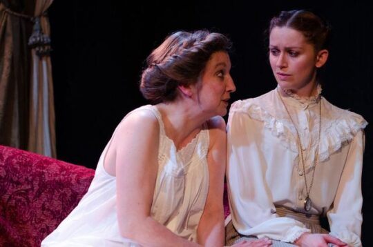 Left to right, Elaine Carlson, Tracey Greenwood in Mrs. Warren's Profession. (Photo by Tom McGrath)