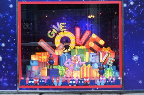 Macy's State Street windows send messages of Thanks, Love and Believe. (Photo by Daniel Boczarski/Getty images)