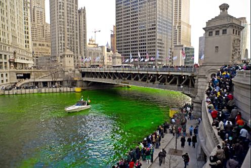 COVID canceled parades and green Chicago River but look for green lights on downtown buildings (City of Chicago photo)