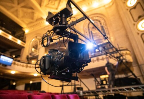 Valhalla Media working on a production to live stream from the Studebaker Theater in Chicago. (Photo by Kyle Flubacker,)