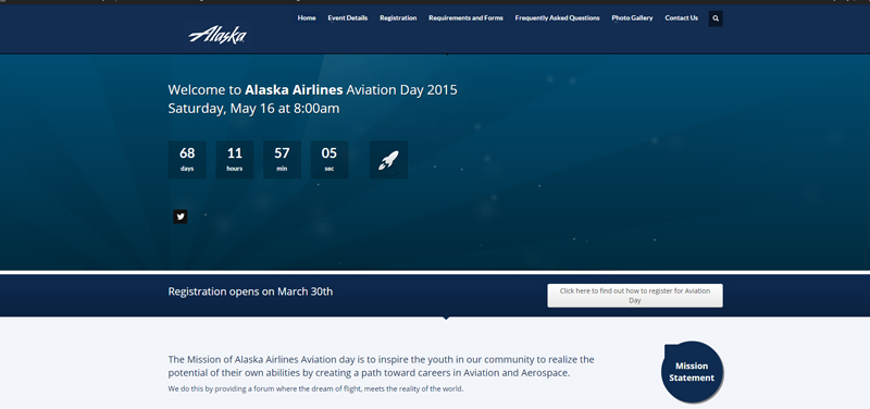 alaska airlines aviation day website screenshot
