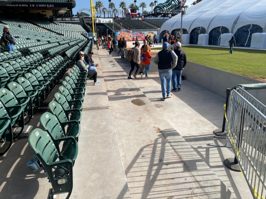 The new luxury box down the left field line under construction at Oracle Park on February 8th, 2020, on view at FanFest.  Photo by Kevin J. Cunningham
