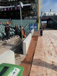 The view of the new wall along the left field line at Oracle Park, viewed during FanFest on February 8th, 2020. Photo by Kevin J. Cunningham