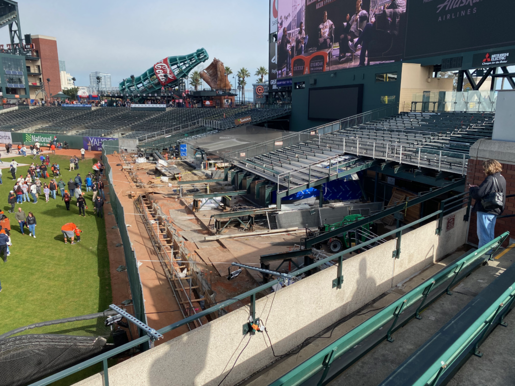 The construction of the new bullpens at Oracle Park, as progressed at FanFest on Feb. 8th, 2020.