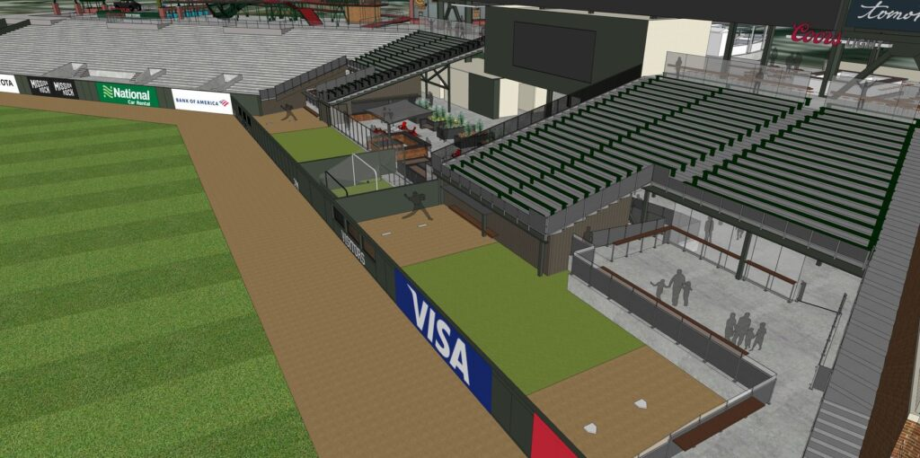 Rendering of the new center field area bullpens and surrounding viewing decks at Oracle Park for the 2020 season.