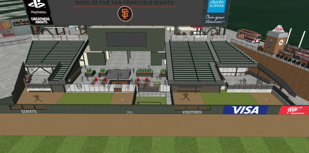 Rendering of the new bullpens at Oracle Park.