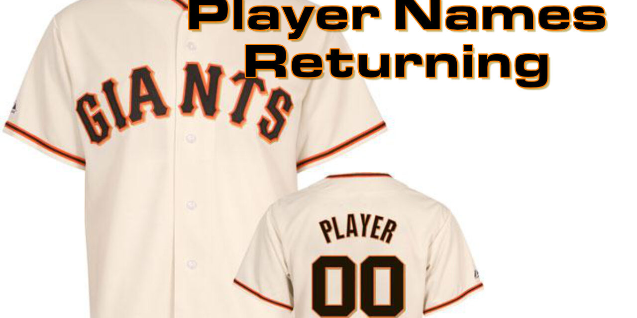 Giants to put player names on home jerseys for 2021