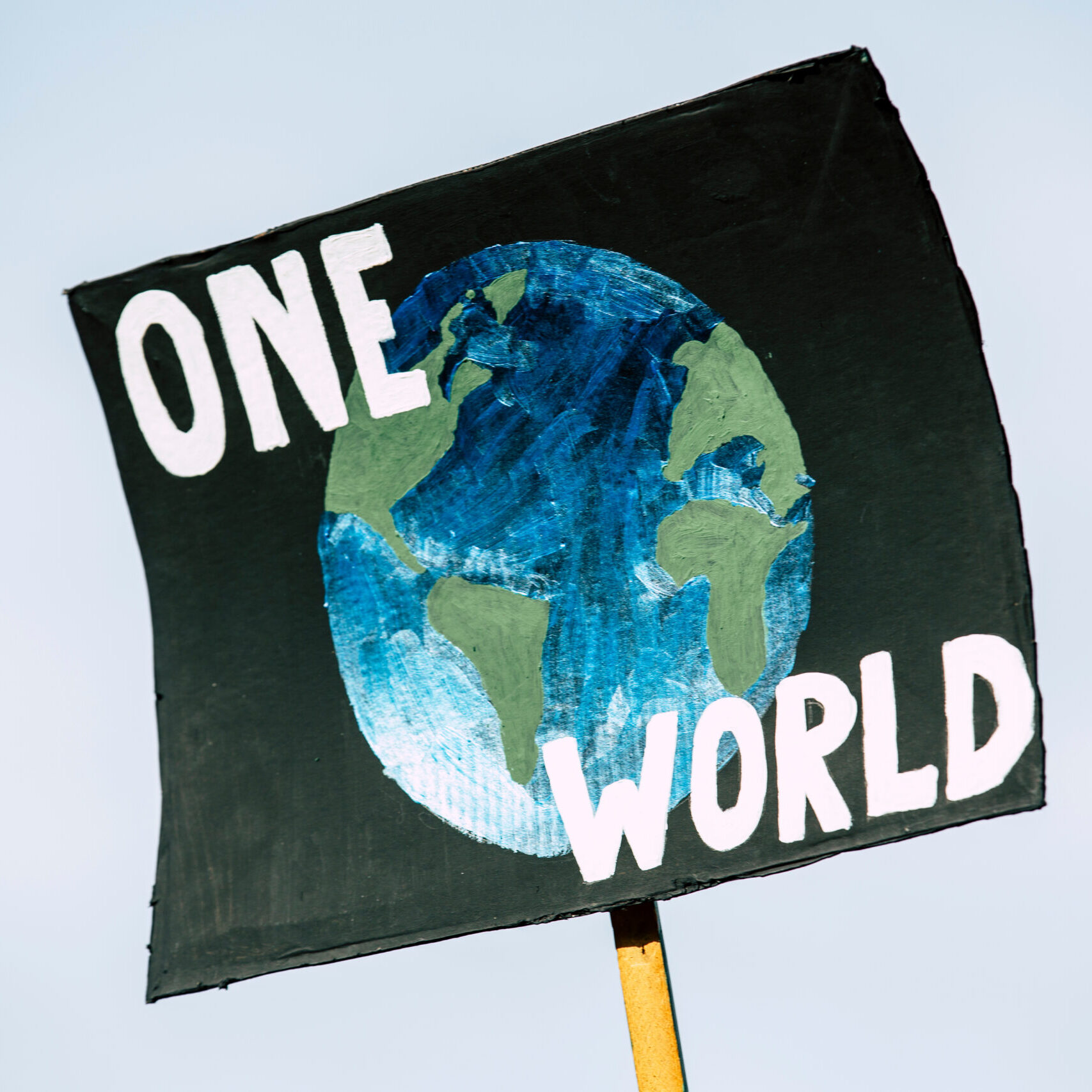 Protest sign that says One World