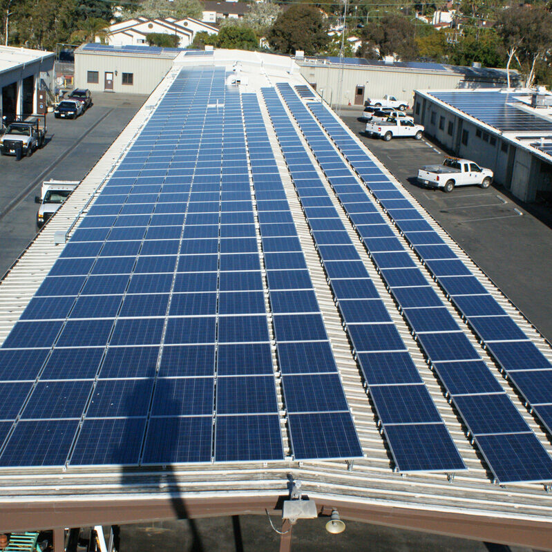 Solar panels on a parking lot roof