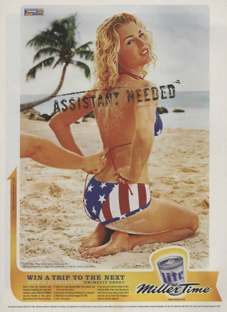 red white and blue bikini classic miller time mag ad