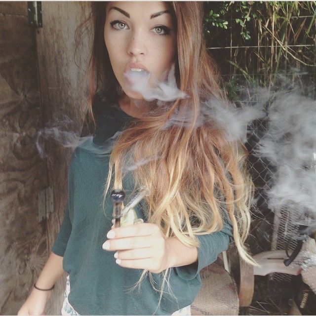 brunette girl getting stoned
