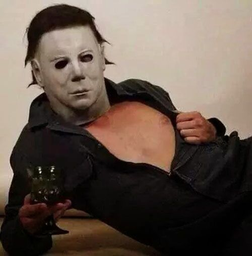 fun michael myers mask with wine hilarious