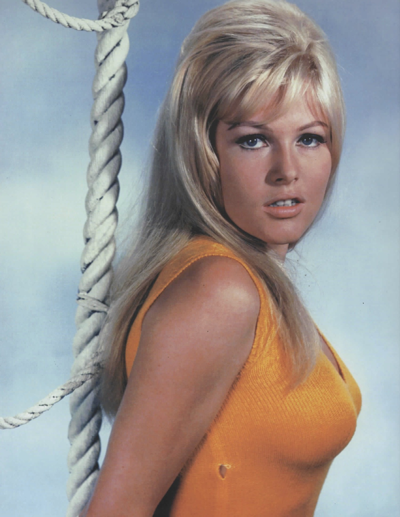 orange top sexy tight blonde 60s 1960s