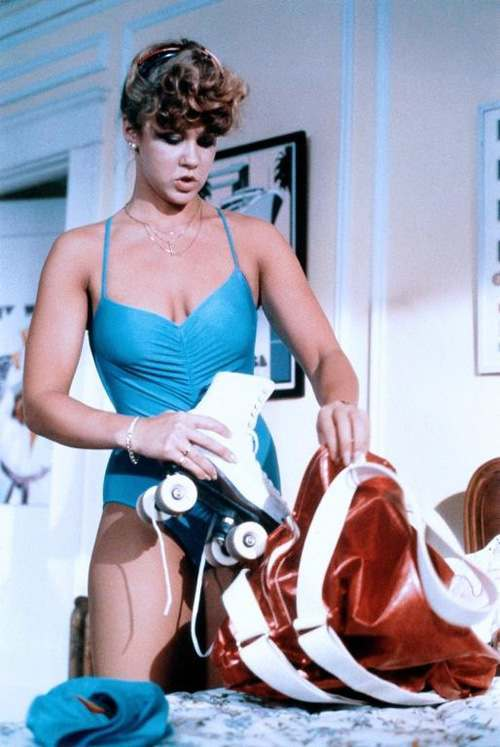 linda blair roller skating blue bikini