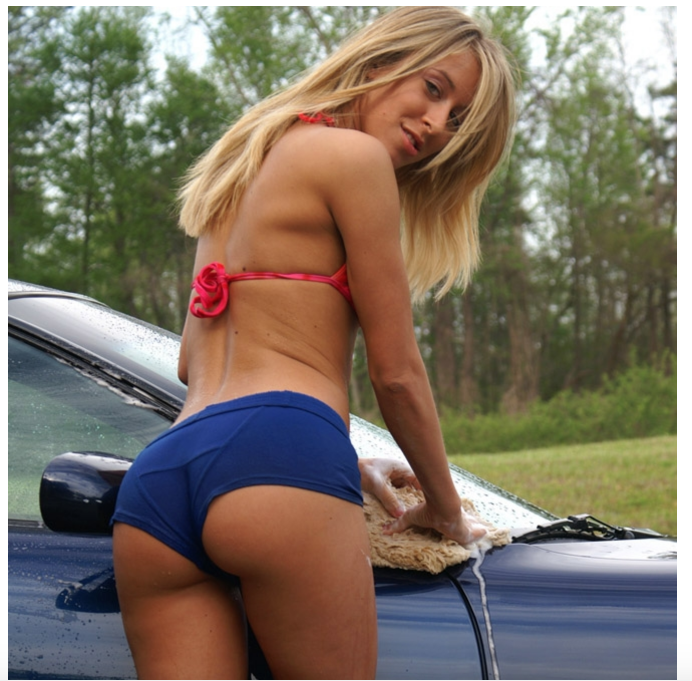 incredible butt blonde car wash