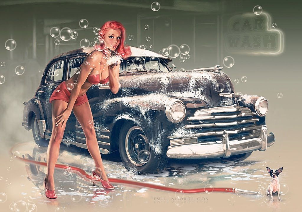 rockabilly art classic car pinup girl with red dog car wash