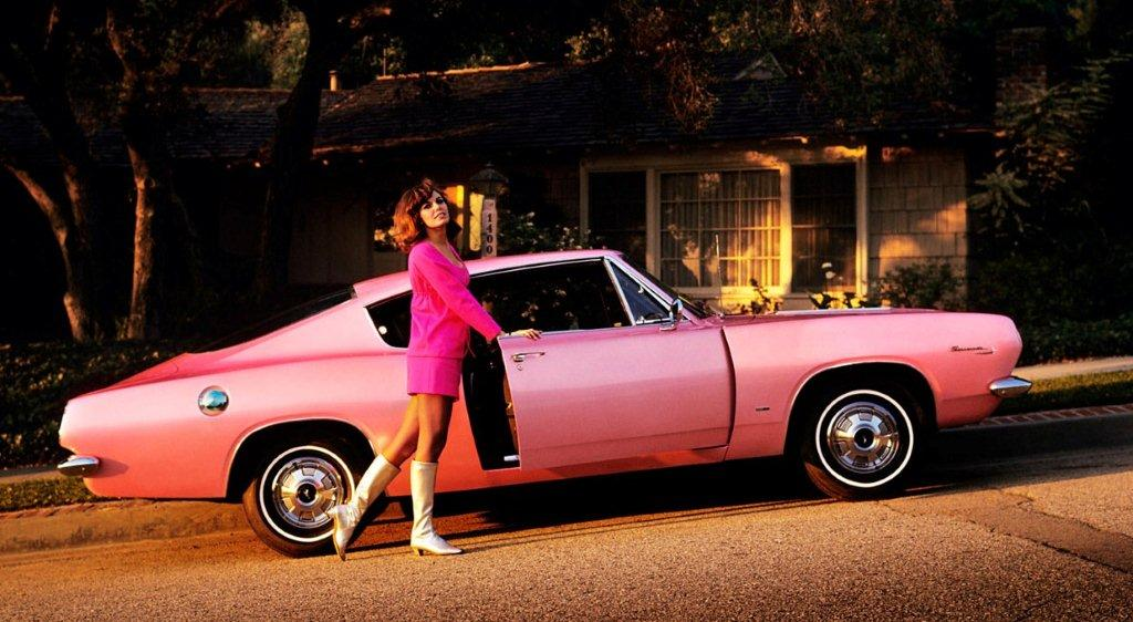 brunette cutie with pink car