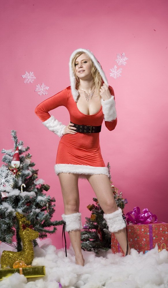 blonde girl in sexy christmas outfit