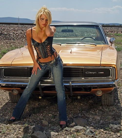 blonde babe with dodge charger