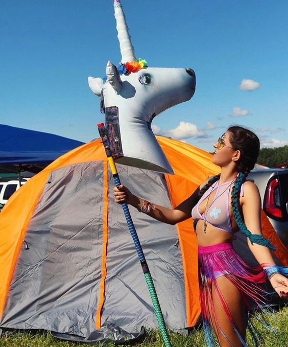 rave girl talking to a unicorn