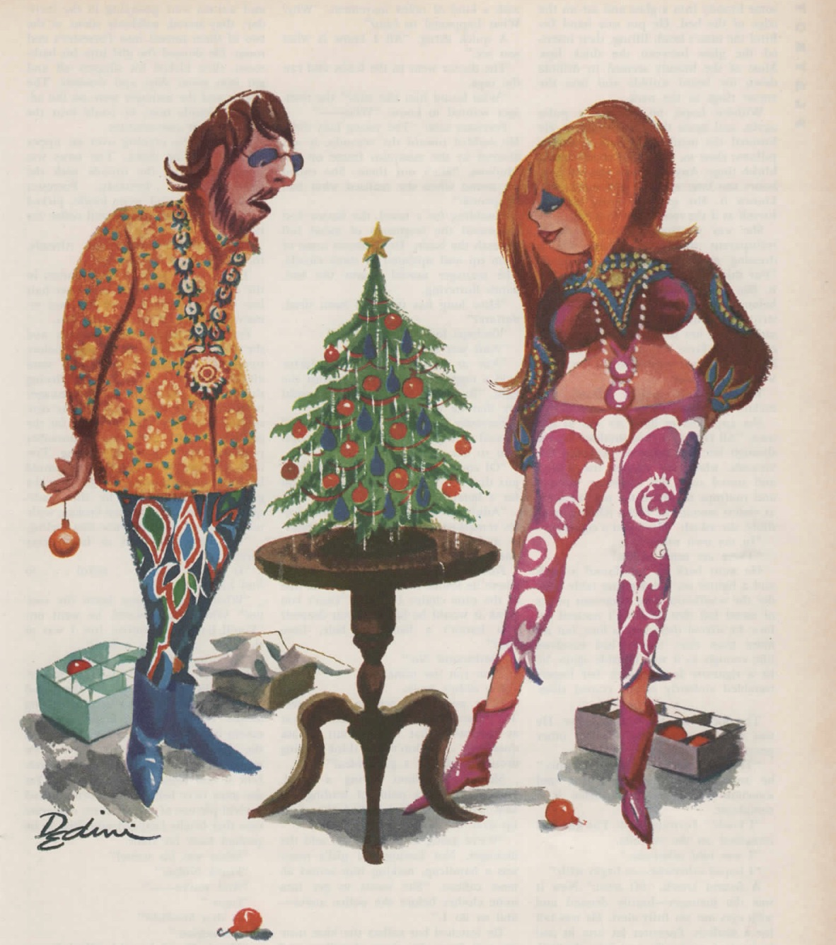 hippie cartoon with small xmas christmas holiday tree