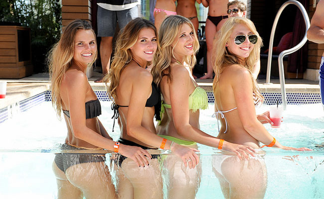 four cute girls at las vegas pool party