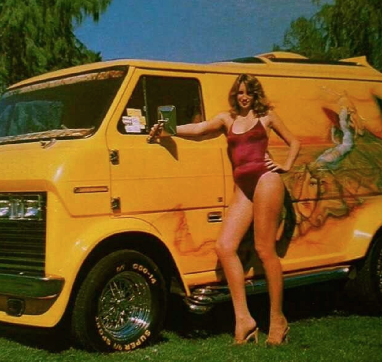 girl in red bikini with classic yellow van