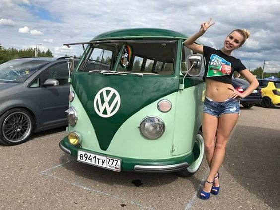 cute babe with vw van