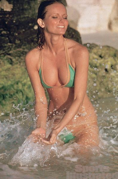 cheryl tiegs 1980s green bikini wet