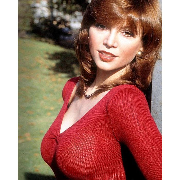 victoria principal busty red sweater