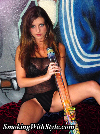 brunette girl in mesh with long bong