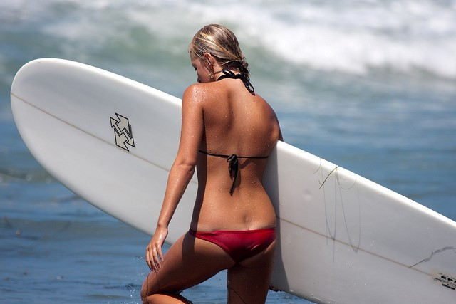 surfer girl hot wet red bikini