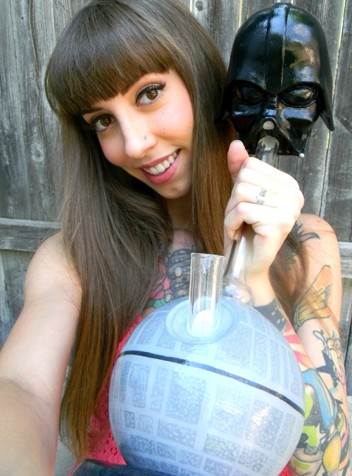 cute girl with darth vader bong