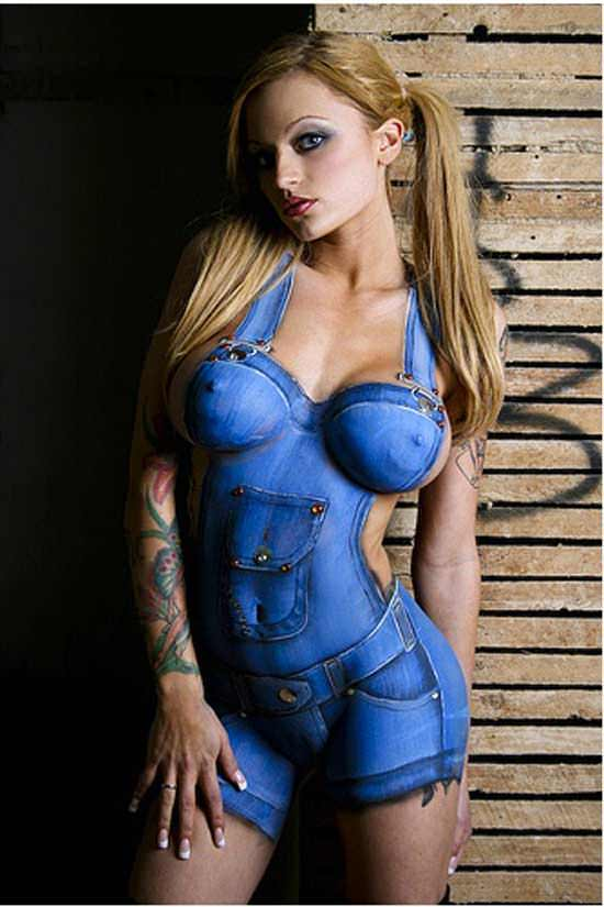 blonde girl babe pigtails body paint jean jumpsuit