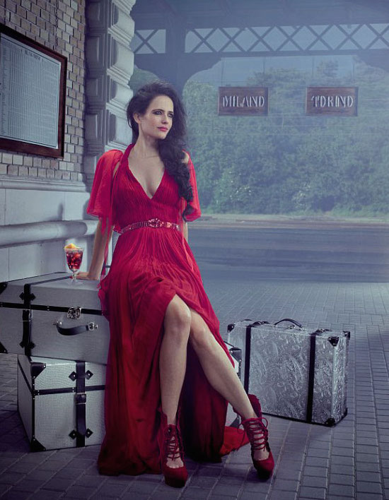 eva green star of dumbo dressed in sexy red dress