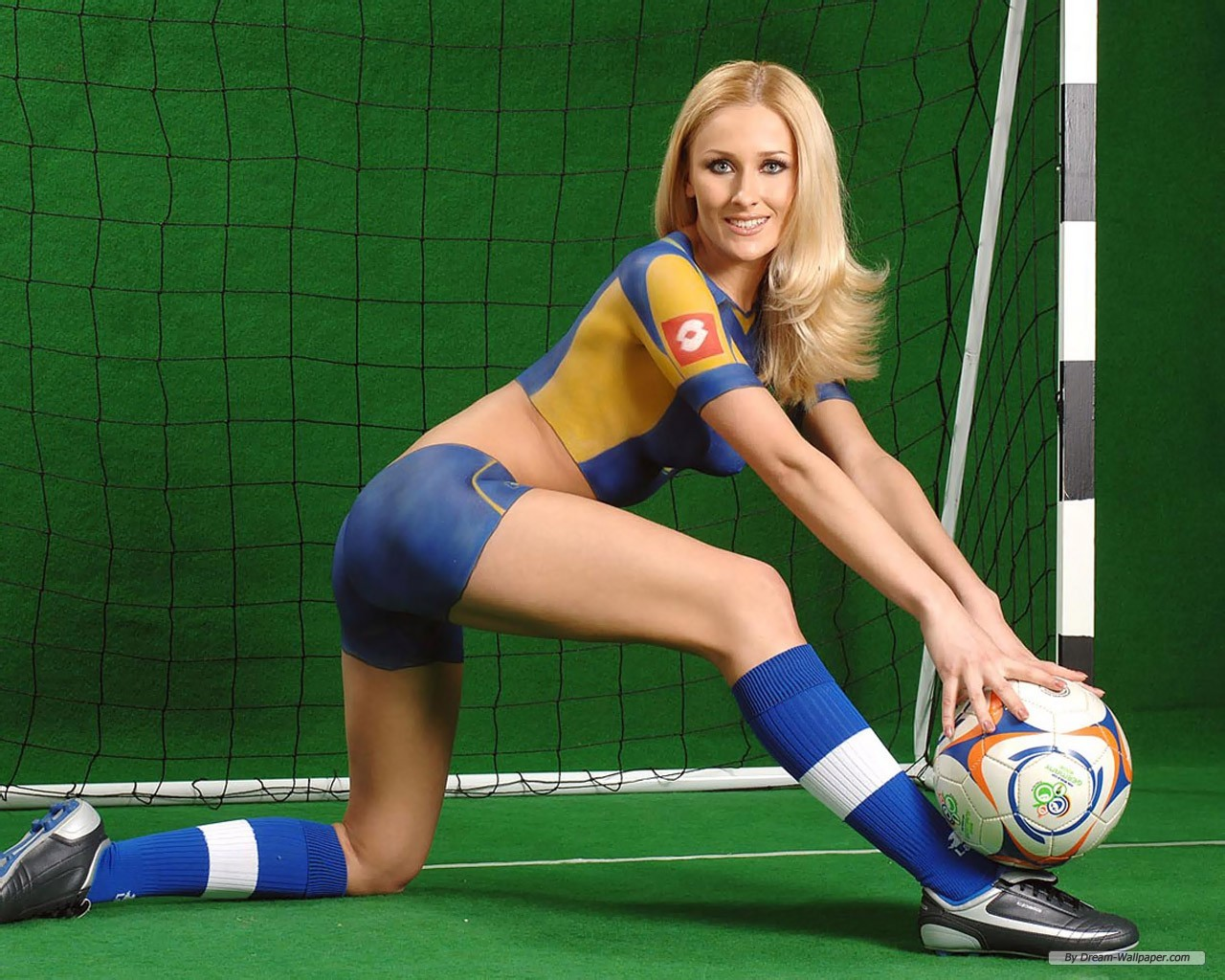 hot blonde babe in body paint soccer star hottie