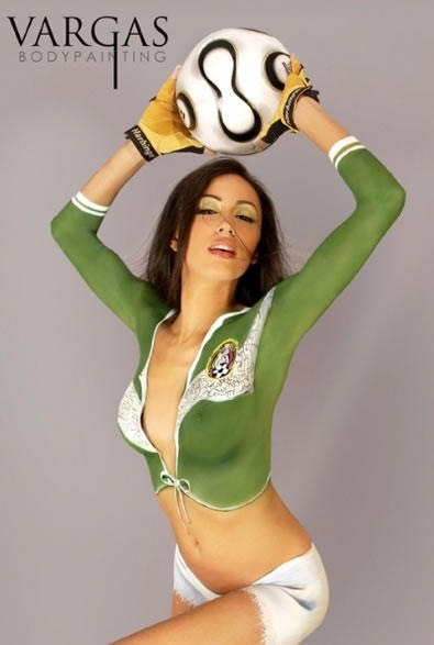 brunette soccer babe body paint sexy