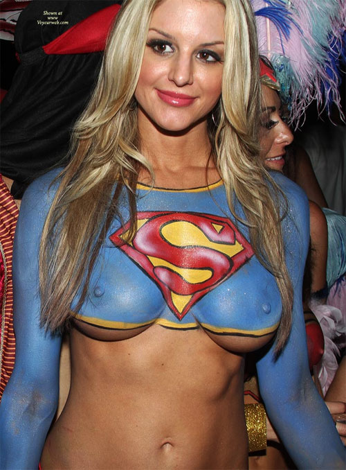 body paint babe superman print blue breasts