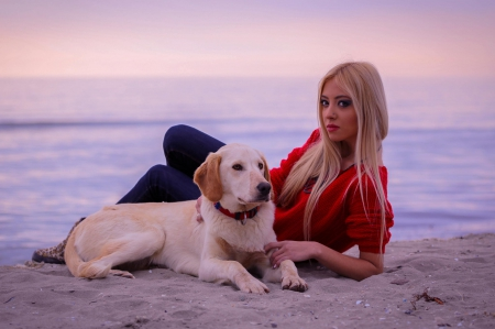 blonde hottie cutie at beach with dog good