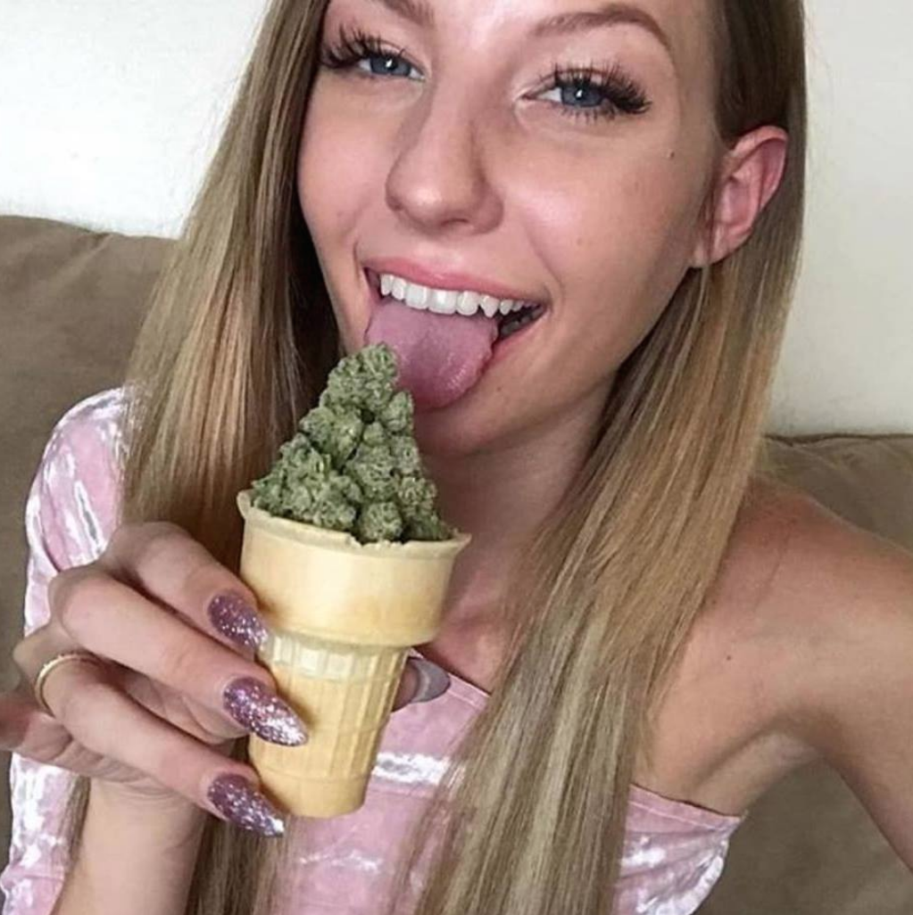 blonde little cutie licking ice cream cone of weed marijuana cannabis