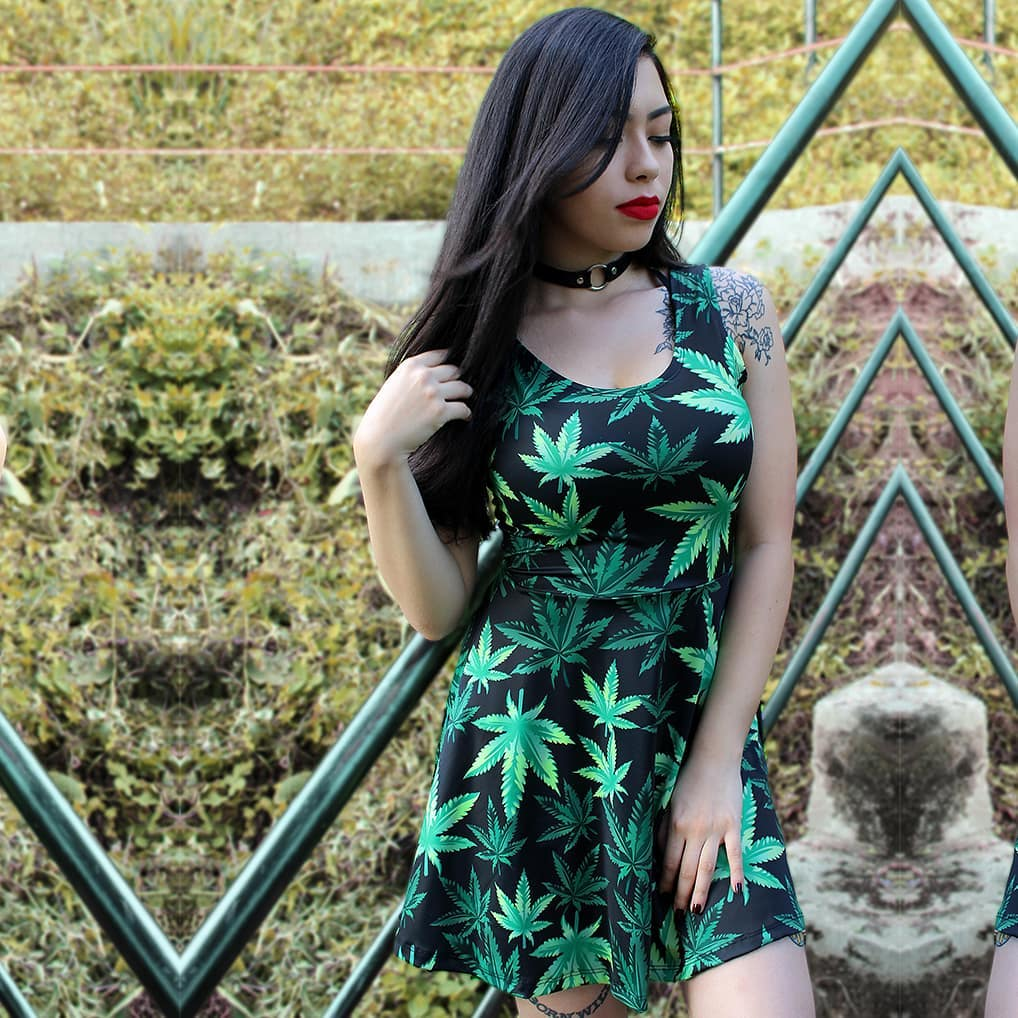 knockout latina babe in cannabis dress red lipstick wow