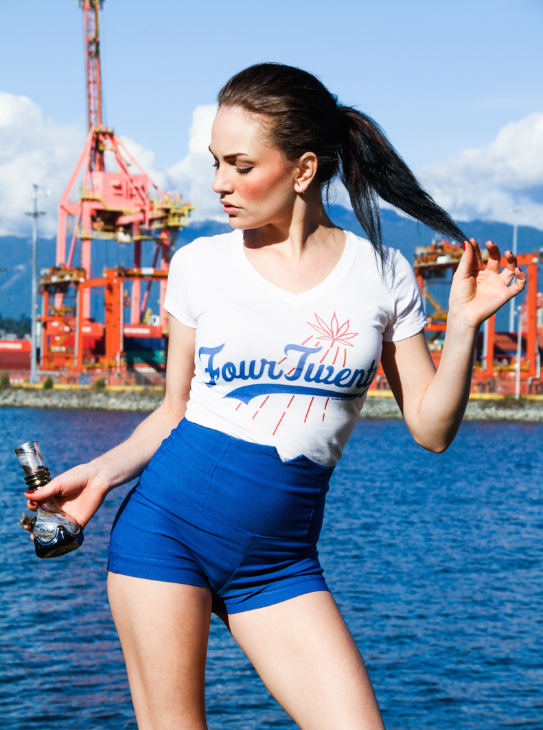 four twenty girl with bong and tight blue shorts