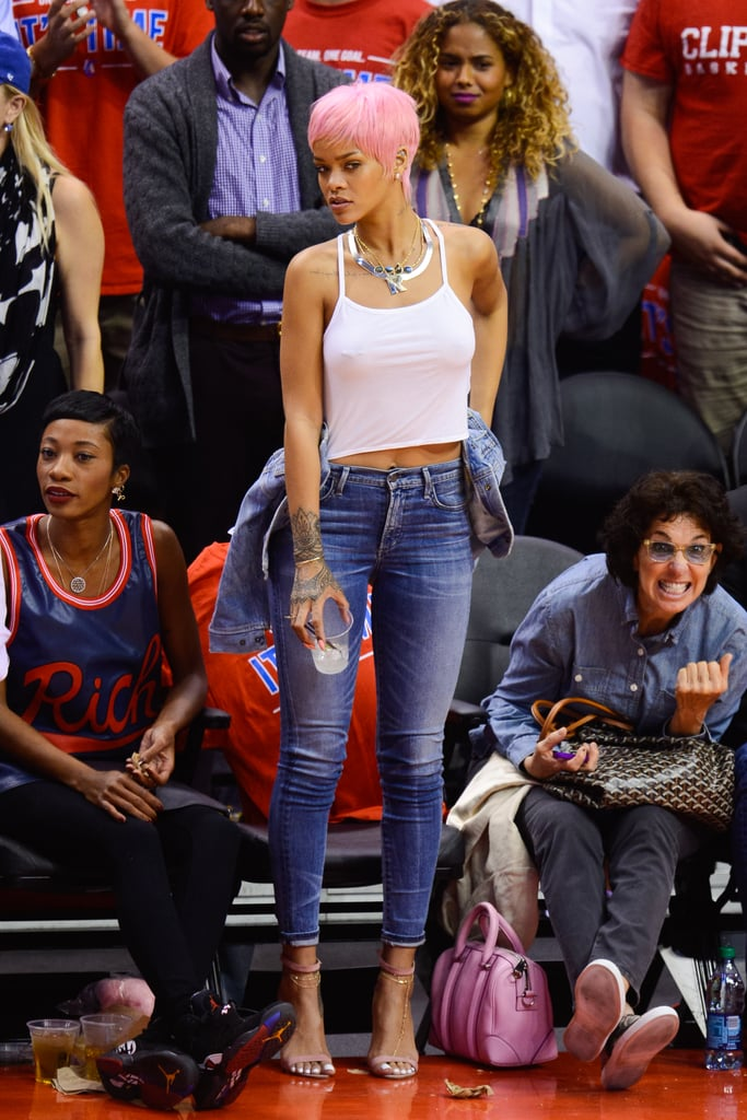 rihanna in the front row at an nba game