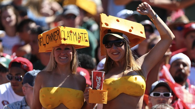 two cheesehead green bay fan hot