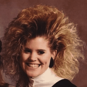 girl with big 80s hair