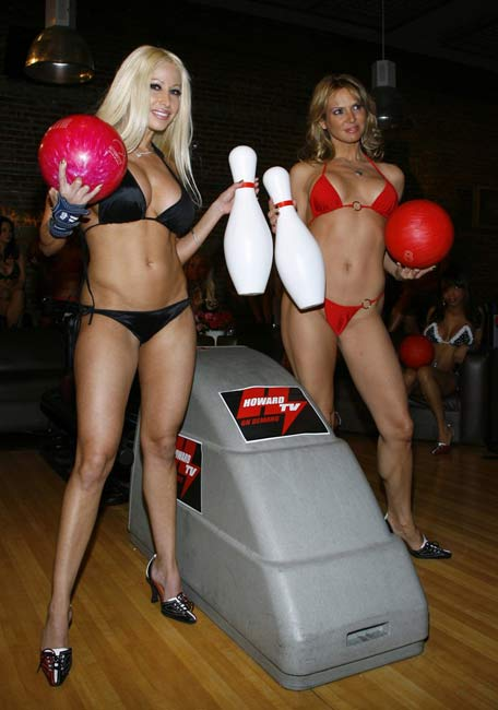 bikini bowling night red and black big pins