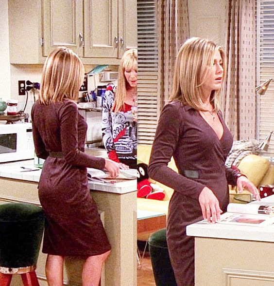 jennifer aniston tight purple dress on friends tv show