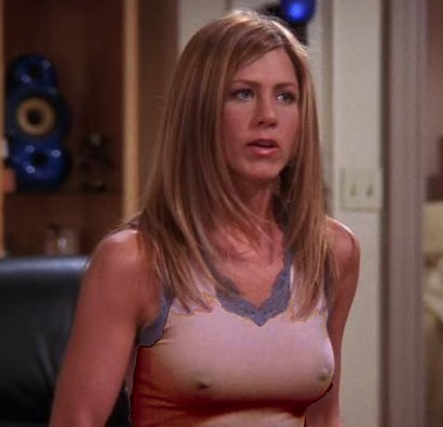 jennifer aniston nipples superb on friends pink top